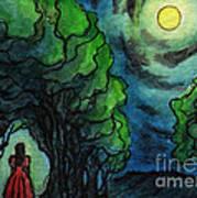 Ac224 Girl Under Full Moon Art Print