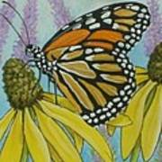 Aceo Monarch On Wild Grey Headed Coneflower Art Print
