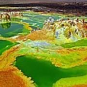 Acid Lakes Of Dallol Volcano Art Print by Liudmila Di