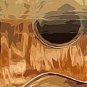 Acoustic Guitar Brown Background 2 Art Print