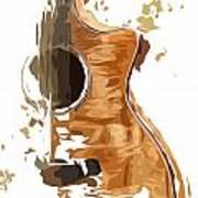Acoustic Guitar Brown Background 4 Art Print