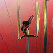 Acrobatic Aerial Artistry1 Art Print by Anne Mott