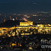 Acropolis At Night Art Print