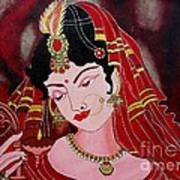Acrylic Painting-lady With Diya Art Print