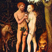 Adam And Eve - Oil On Canvas Art Print