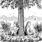 Adam And Eve Sit Back To Back Against A Tree Art Print