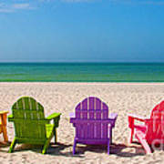 Adirondack Beach Chairs For A Summer Vacation In The Shell Sand  Print by ELITE IMAGE photography By Chad McDermott