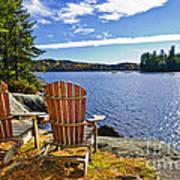 Adirondack Chairs At Lake Shore Art Print
