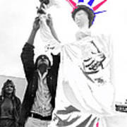 Adjusting  Torch Statue Of Liberty Statue July 4th Parade Tucson Arizona  Art Print