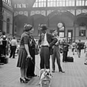 Admiring The Dog At Penn Station 1942 Art Print