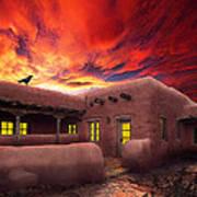 Adobe Sunset Art Print by Ric Soulen