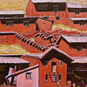Adobe Village - Peru Impression II Art Print