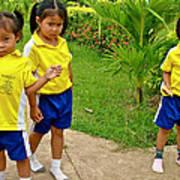 Adorable Sweethearts Welcoming Committee At Baan Konn Soong School In Sukhothai-thailand Art Print