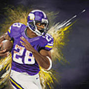 Adrian Peterson Art Print by Don Medina