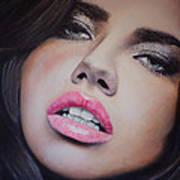 Adriana Lima Oil On Canvas Art Print