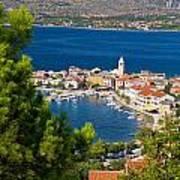 Adriatic Town Of Vinjerac Aerial View Art Print