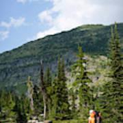 Adult Woman Hiking Through An Alpine Art Print