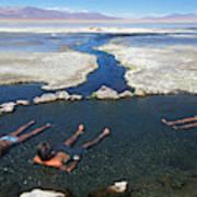 Adults Bathing In Hot Springs Art Print