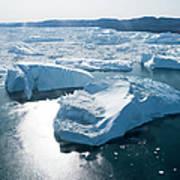 Aerial Of Icebergs Of Ilulissat Art Print