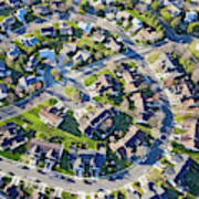 Aerial Pattern Of Residential Homes Art Print