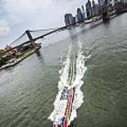 Aerial View - Red Tourist's Boat At East River Art Print