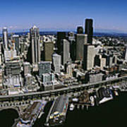 Aerial View Of A City, Seattle Art Print