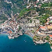 Aerial View Of A Town, Atrani, Amalfi Art Print