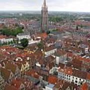 Aerial View Of Bruges Belgium Art Print