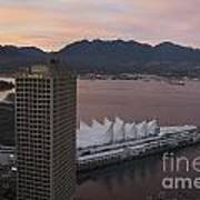 Aerial View Of Canada Place At Sunse Art Print