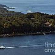 Aerial View Of Ferry Boats On Puget Sound One Leaving Bainbridge Art Print