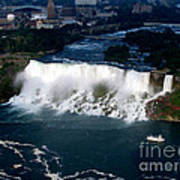Aerial View Of Niagara Falls And River And Maid Of The Mist Art Print