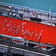 Aerial View Of People Running Art Print