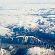 Aerial View Of Snowcapped Mountains In Bc Canada Art Print