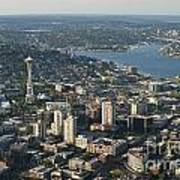 Aerial View Of Space Needle And Lake Union Art Print