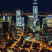Aerial View Of The Lower Manhattan Skyscrapers By Night Art Print