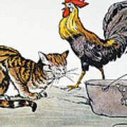 Aesop: Cat, Cock, And Mouse Art Print