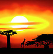 Africa Sunset Art Print