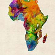 Africa Watercolor Map Art Print by Michael Tompsett