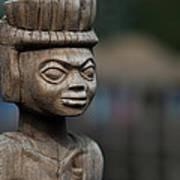 African Aging Wooden Sculpture Art Print