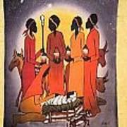 African Christmas Nativity Art Print
