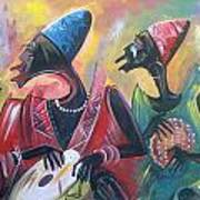 African Drumming Group Art Print