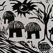 African Huts White Art Print