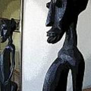 African Statue Reflection Art Print