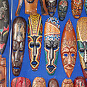 African Tribal Masks In Sidi Bou Said Art Print