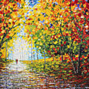 After Rain Autumn Reflections Acrylic Palette Knife Painting Art Print