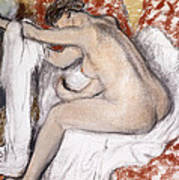 After The Bath Woman Drying Herself Art Print