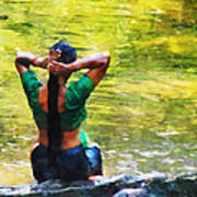 After The River Bathing. Indian Woman. Impressionism Print by Jenny Rainbow