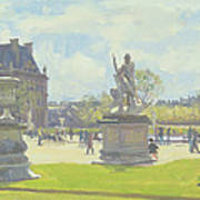 Afternoon In The Tuileries, Paris Oil On Canvas Art Print