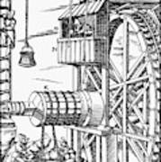Agricola Waterwheel, 1556 Art Print