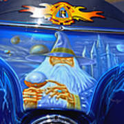 Airbrush Magic - Wizard Merlin On A Motorcycle Art Print by Christine Till